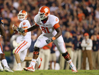 AUBURN, AL - SEPTEMBER 18:  Chris Hairston #61 of the Clemson Tigers against the Auburn Tigers at Jordan-Hare Stadium on September 18, 2010 in Auburn, Alabama.  (Photo by Kevin C. Cox/Getty Images)