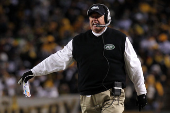 PITTSBURGH, PA - JANUARY 23:  Head coach Rex Ryan of the New York Jets reacts during their 2011 AFC Championship game against the Pittsburgh Steelers at Heinz Field on January 23, 2011 in Pittsburgh, Pennsylvania.  (Photo by Nick Laham/Getty Images)