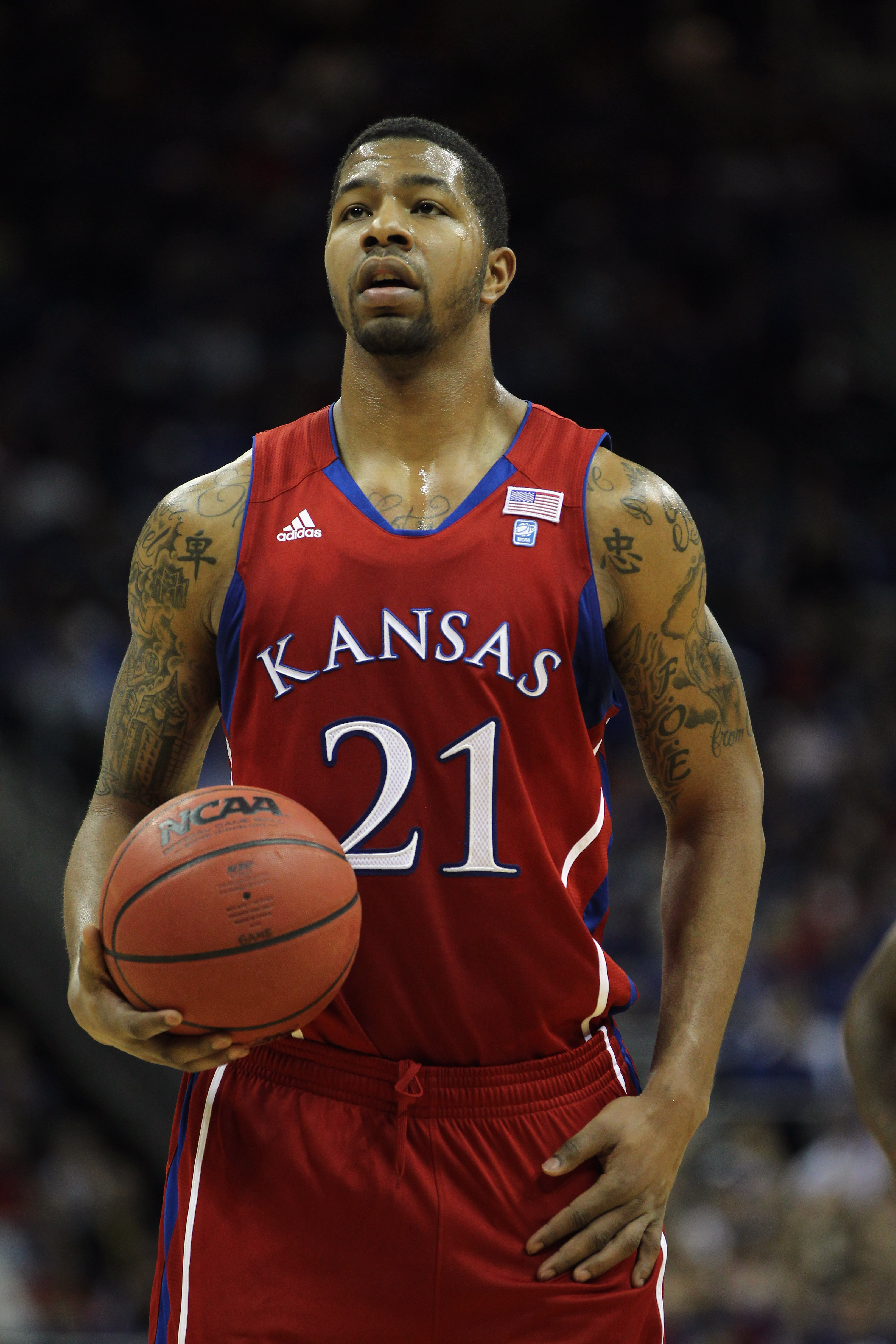 KANSAS CITY, MO - DECEMBER 11:  Markieff Morris #21 of the Kansas Jayhawks in action during the game against the Colorado State Rams on December 11, 2010 at the Sprint Center in Kansas City, Missouri.  (Photo by Jamie Squire/Getty Images)