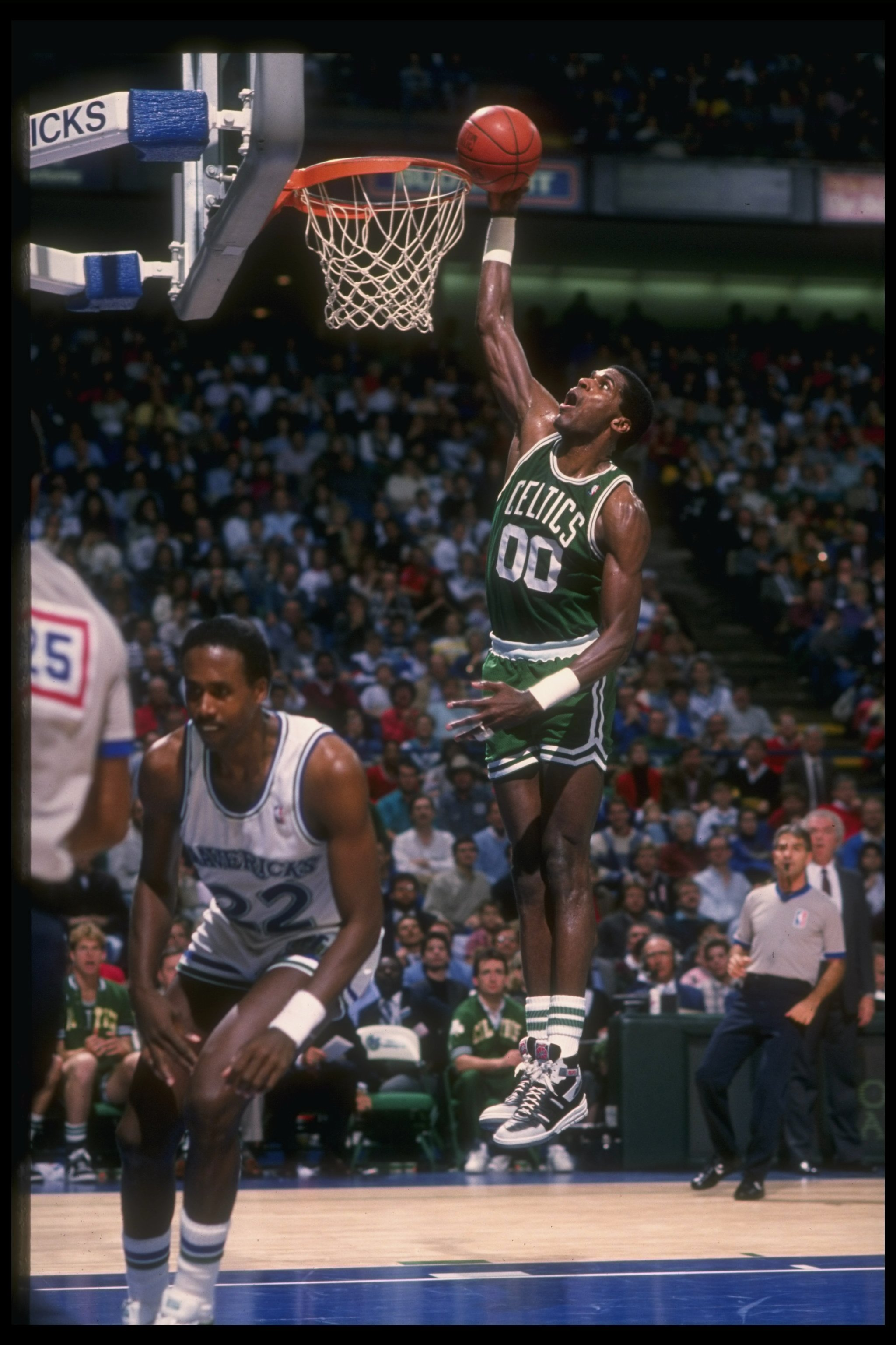 Undated:  Robert Parish of the Boston Celtics goes up for two during a game. Mandatory Credit: Otto Greule Jr.  /Allsport