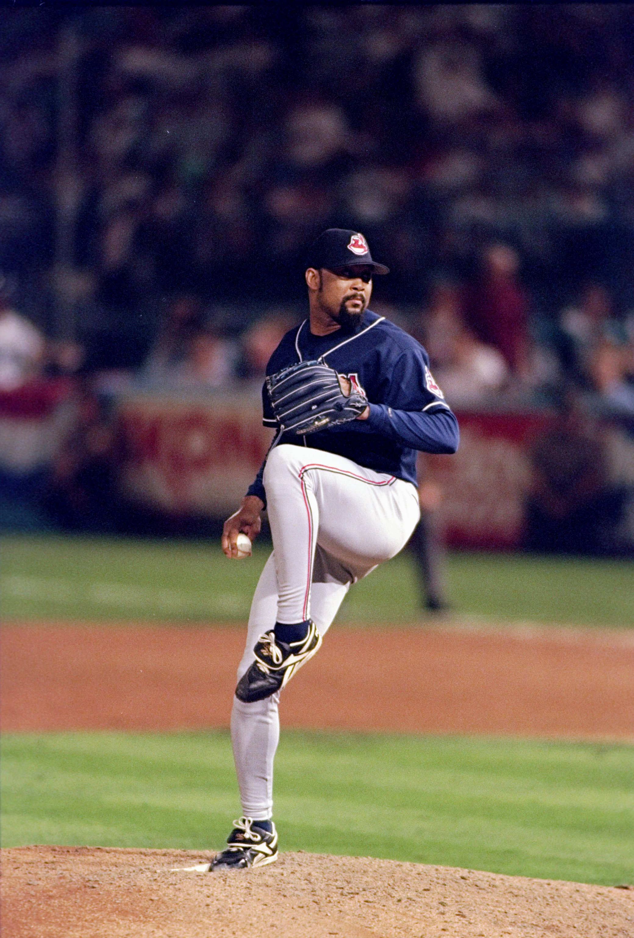 25 Oct 1997:  Pitcher Jose Mesa of the Cleveland Indians prepares to throw the ball during the sixth game of the World Series against the Florida Marlins at Pro Player Stadium in Miami, Florida.  The Indians won the game 4-1. Mandatory Credit: Jed Jacobso