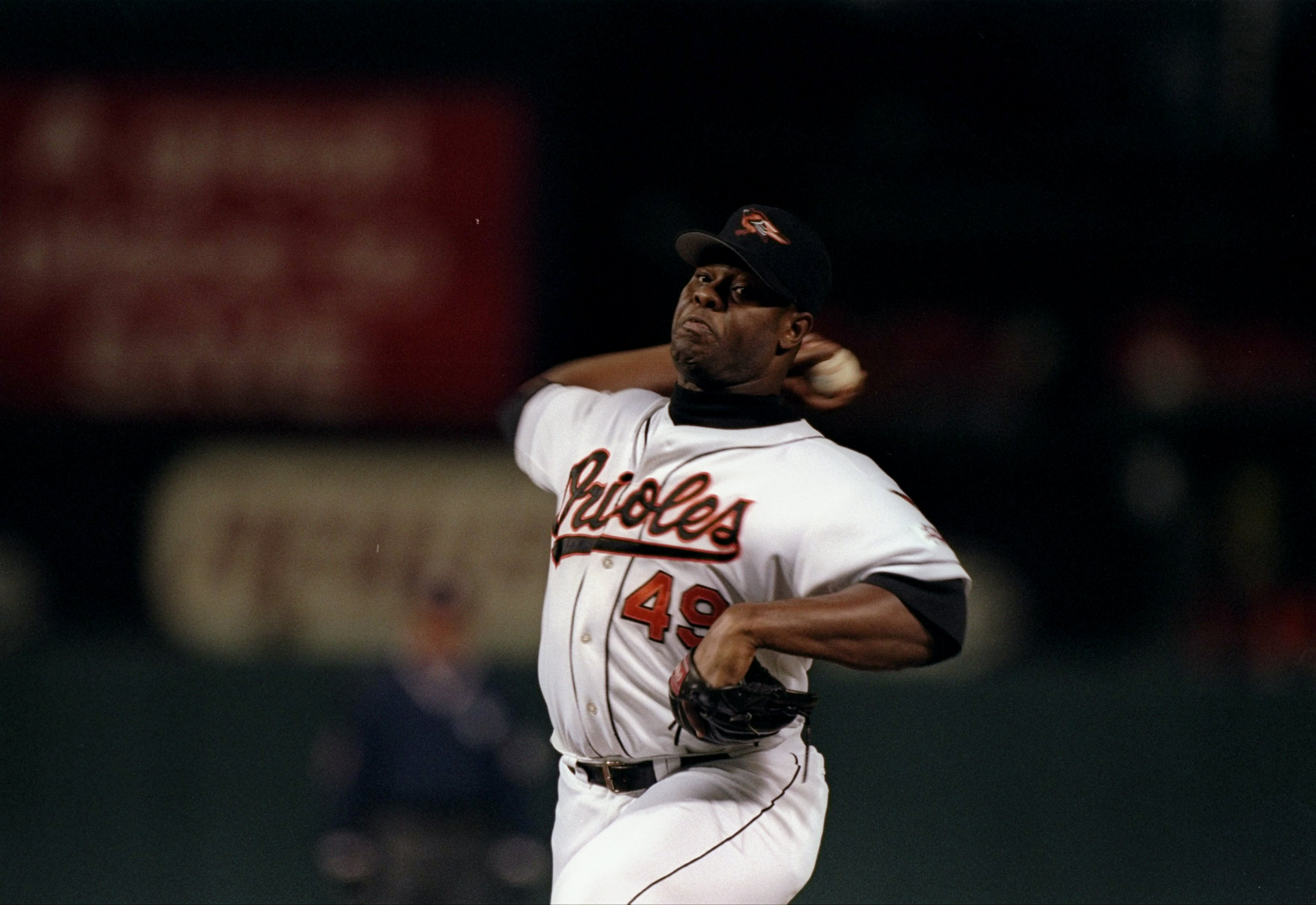 15 Oct 1997: Pitcher Armando Benitez of the Baltimore Orioles throws a pitch during game six of the American League Championship against the Cleveland Indians at Camden Yards in Baltimore, Orioles. The Indians won the game 1-0.