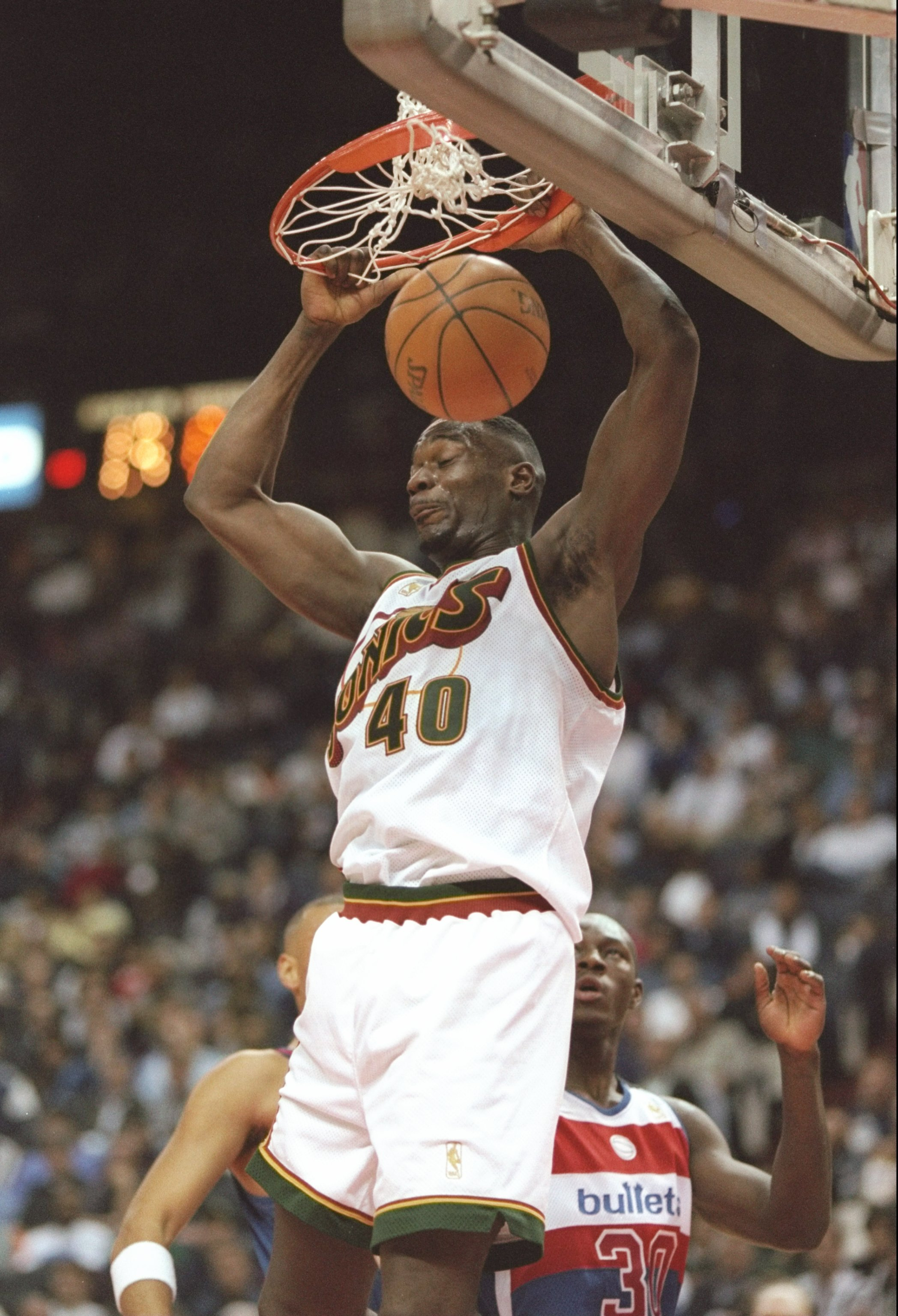 20 Nov 1996:  Forward Shawn Kemp of the Seattle Supersonics slam dunks the ball during a game against the Washington Bullets at the US Air Arena in Landover, Maryland.  The Supersonics won the game 115-110. Mandatory Credit: Doug Pensinger  /Allsport
