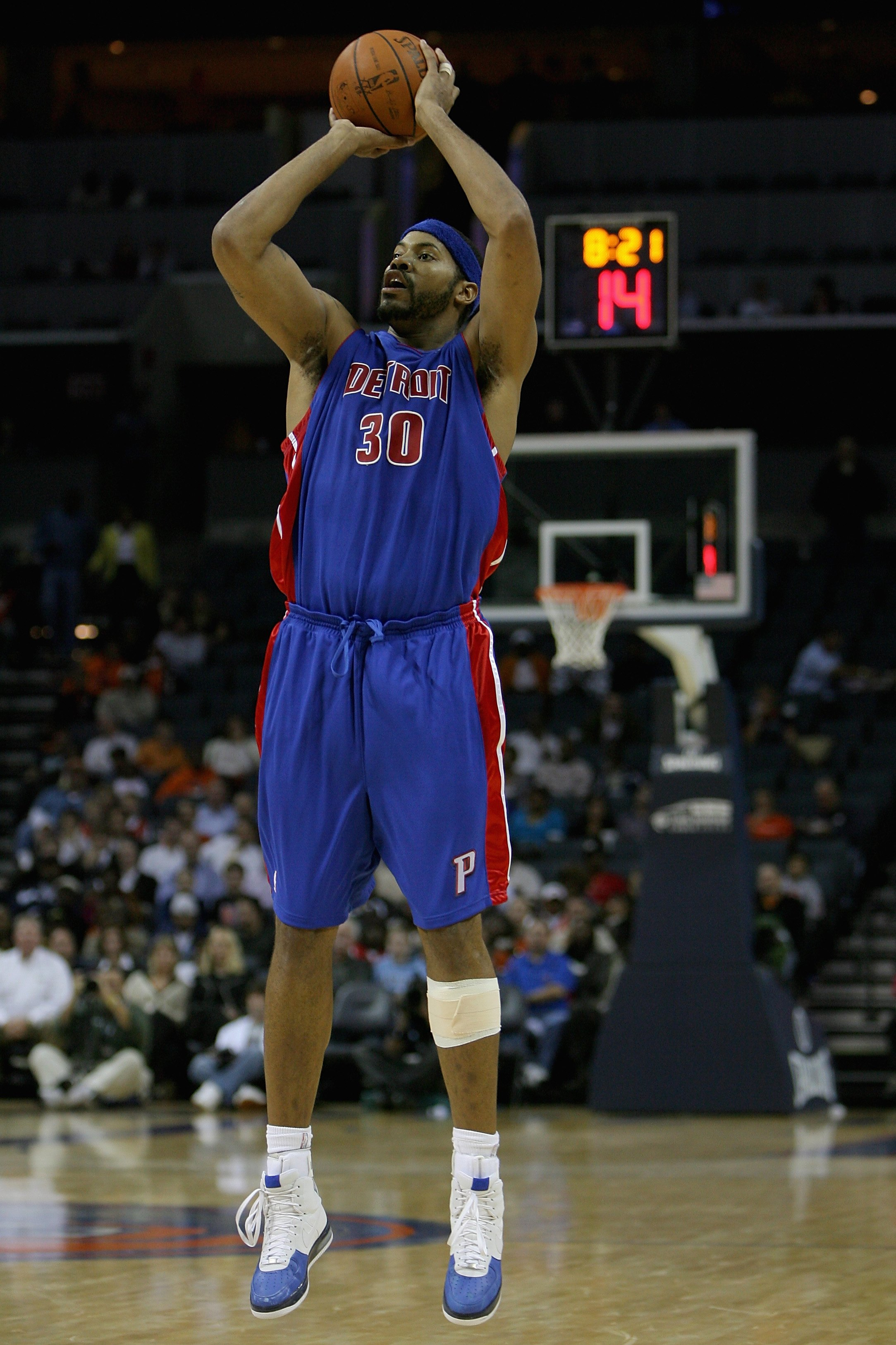 CHARLOTTE, NC - NOVEMBER 3:  Rasheed Wallace #30 of the Detroit Pistons puts a shot up during the game against the Charlotte Bobcats on November 3, 2008 at Time Warner Cable Arena in Charlotte, North Carolina.  The Pistons won 101-83.  NOTE TO USER: User