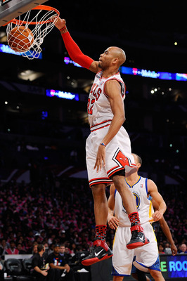 LOS ANGELES, CA - FEBRUARY 18:  Taj Gibson #22 of the Chicago Bulls and the Sophomore Team dunks the ball in the first half against the Rookie Team during the T-Mobile Rookie Challenge and Youth Jam at Staples Center on February 18, 2011 in Los Angeles, C