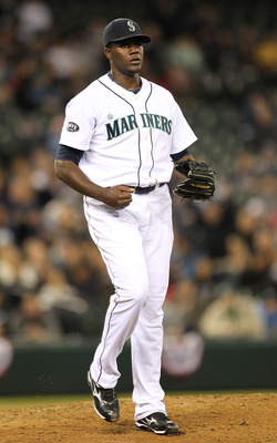 SEATTLE - APRIL 12:  Starting pitcher Michael Pineda #36 of the Seattle Mariners reacts after striking out Travis Snider #45 of the Toronto Blue Jays in the seventh inning at Safeco Field on April 12, 2011 in Seattle, Washington. (Photo by Otto Greule Jr/