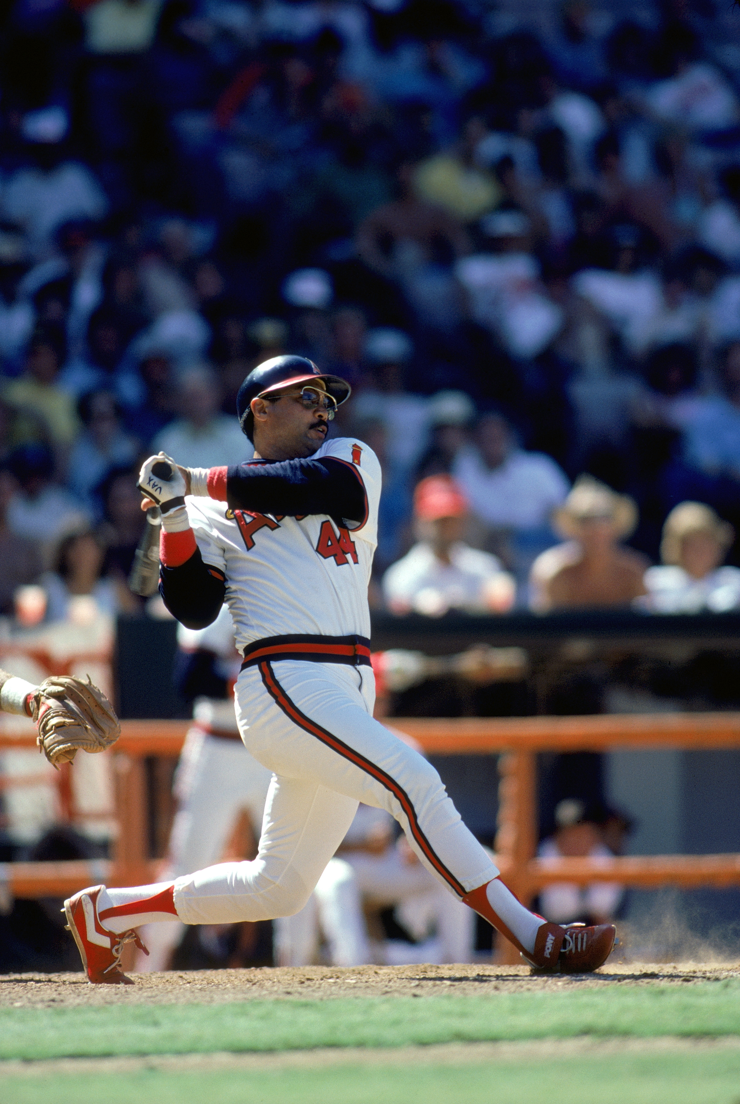 ANAHEIM, CA - 1984:  Reggie Jackson #44 of the California Angels watches the flight of his hit during a 1984 MLB game at Angel Stadium in Anaheim, California. (Photo by Rick Stewart/Getty Images)