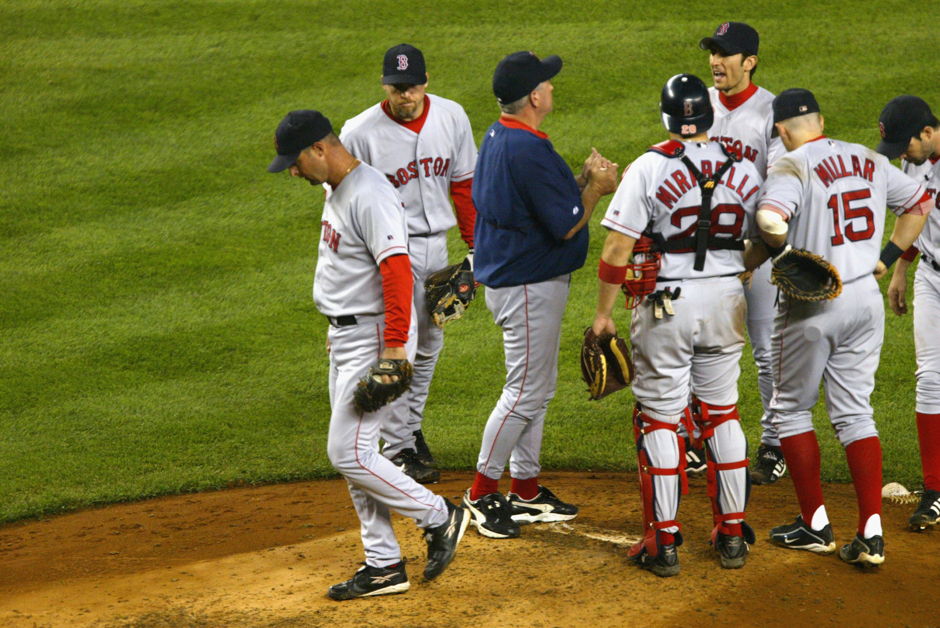BRONX, NY - OCTOBER 8:  Starting pitcher Tim Wakefield  #49 of the Boston Red Sox is pulled by manager Grady Little during game 1 of the American League Championship Series against the New York Yankees on October 8, 2003 at Yankee Stadium in the Bronx, Ne