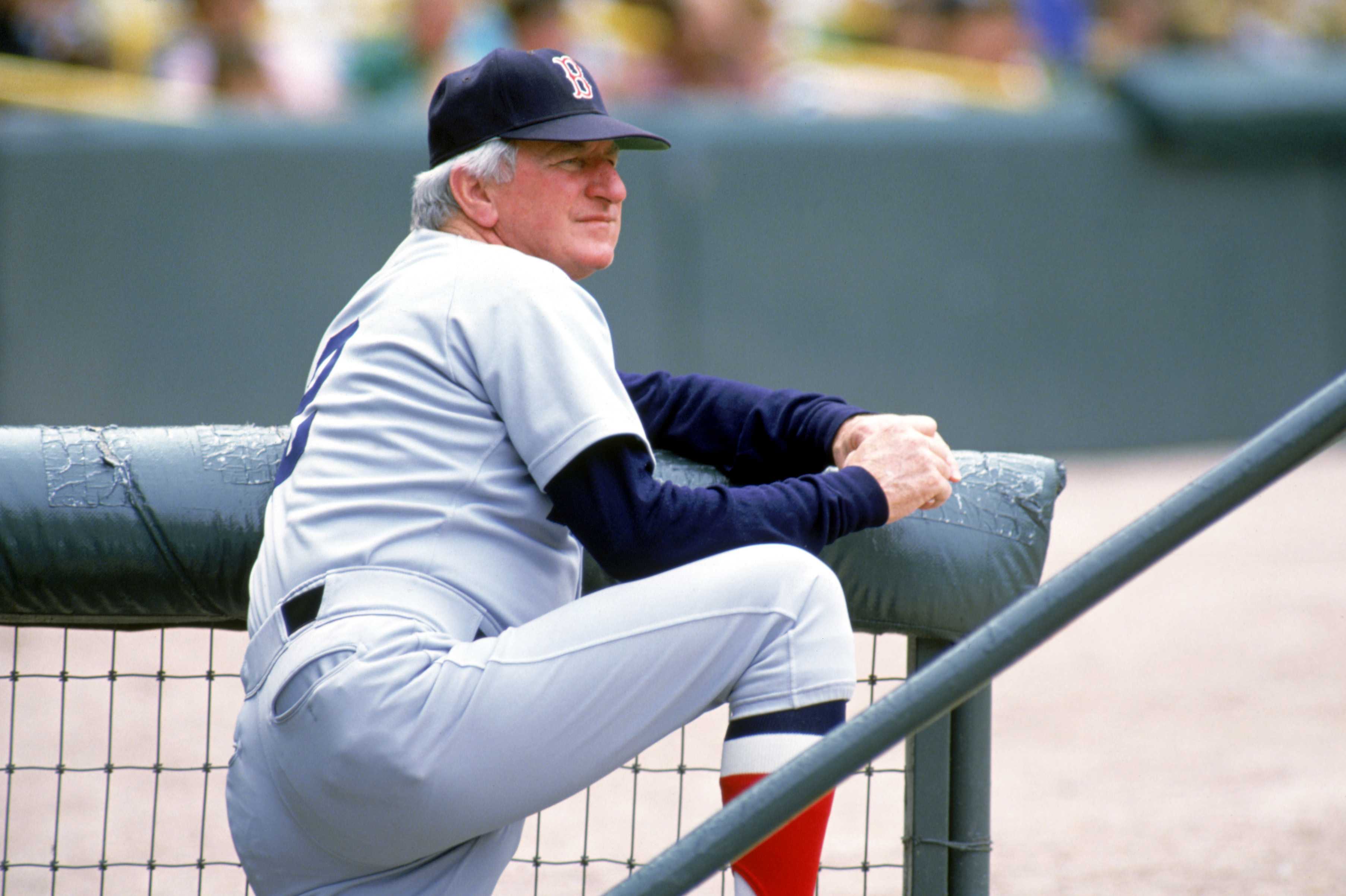 1986:  Manager John McNamara of the Boston Red Sox watches the action during the 1986 season. (Photo by Jonathan Daniel/Getty Images)