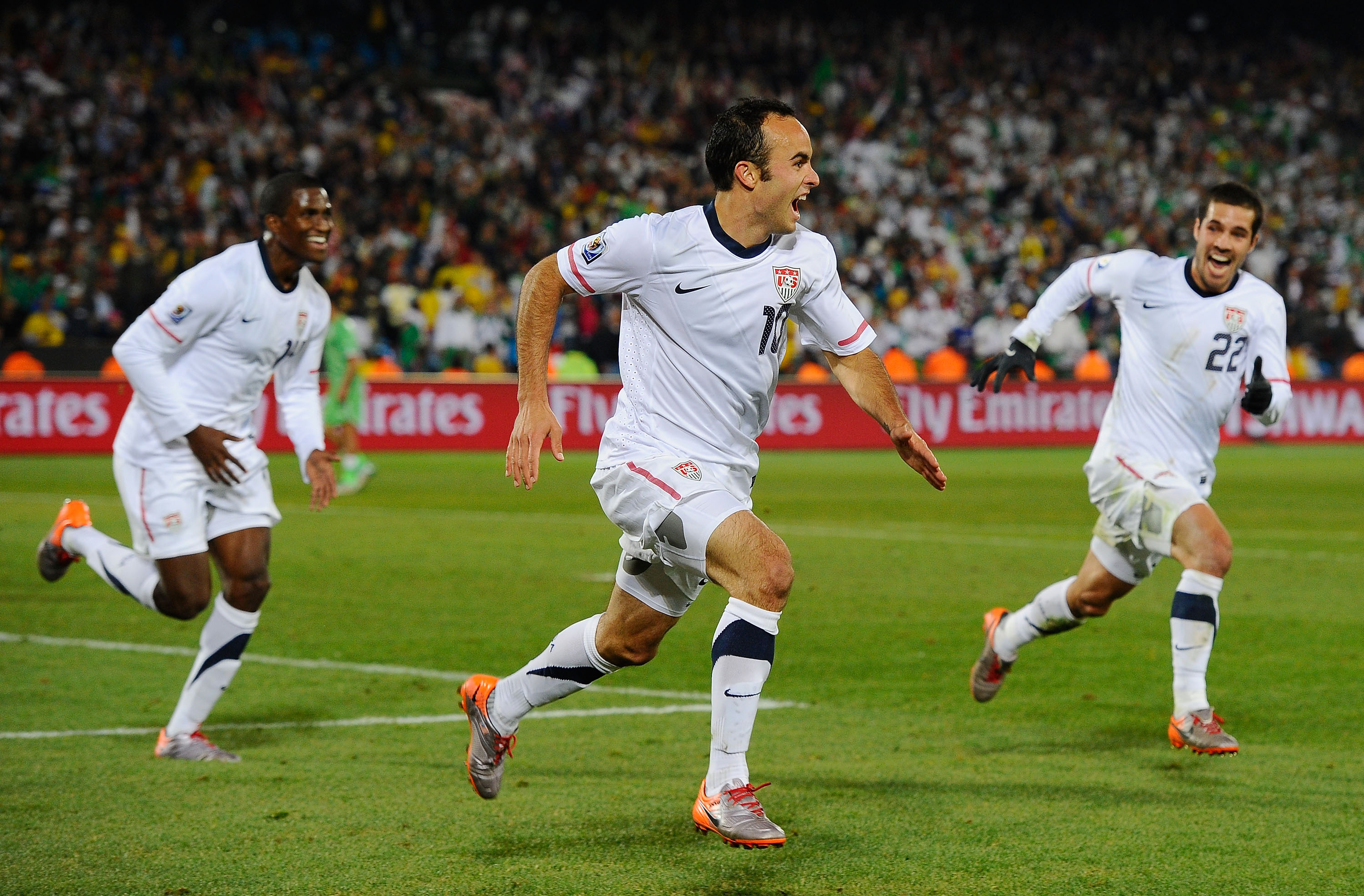 PRETORIA, SOUTH AFRICA - JUNE 23:  Landon Donovan of the United States celebrates scoring the winning goal that sends the USA through to the second round during the 2010 FIFA World Cup South Africa Group C match between USA and Algeria at the Loftus Versf