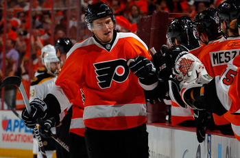 PHILADELPHIA, PA - MAY 02:  James van Riemsdyk #21 of the Philadelphia Flyers celebrates his goal against the Boston Bruins during the first period of Game Two of the Eastern Conference Semifinals during the 2011 NHL Stanley Cup Playoffs at Wells Fargo Ce