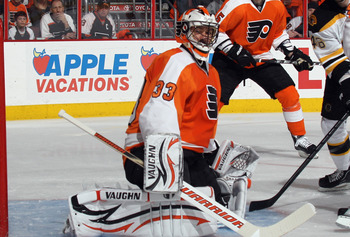 PHILADELPHIA, PA - APRIL 30: Brian Boucher #33 of the Philadelphia Flyers tends net against the Boston Bruins in Game One of the Eastern Conference Semifinals during the 2011 NHL Stanley Cup Playoffs at the Wells Fargo Center on April 30, 2011 in Philadel