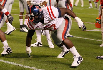 TUSCALOOSA, AL - OCTOBER 16:  Jerrell Powe #57 of the Ole Miss Rebels against the Alabama Crimson Tide at Bryant-Denny Stadium on October 16, 2010 in Tuscaloosa, Alabama.  (Photo by Kevin C. Cox/Getty Images)