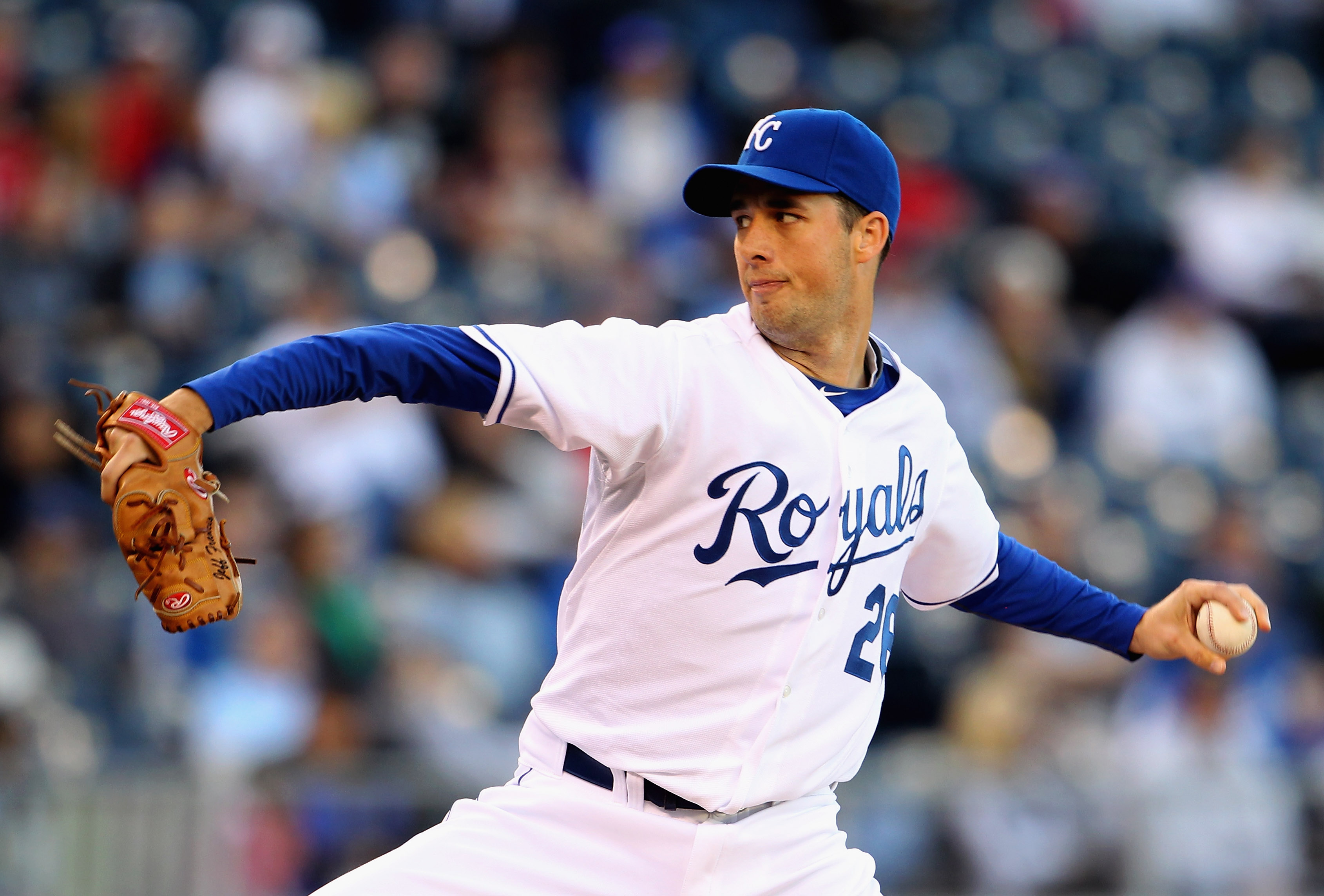 KANSAS CITY, MO - MAY 03:  Starting pitcher Jeff Francis #26 of the Kansas City Royals pitches during the game against the Baltimore Orioles on May 3, 2011 at Kauffman Stadium in Kansas City, Missouri.  (Photo by Jamie Squire/Getty Images)