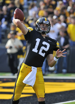 IOWA CITY, IA - OCTOBER 23- Quarterback Ricky Stanzi #12 of the University of Iowa Hawkeyes warms up before action against the Wisconsin Badgers at Kinnick Stadium on October 23, 2010 in Iowa City, Iowa. Wisconsin won 31-30 over Iowa. (Photo by David Purd