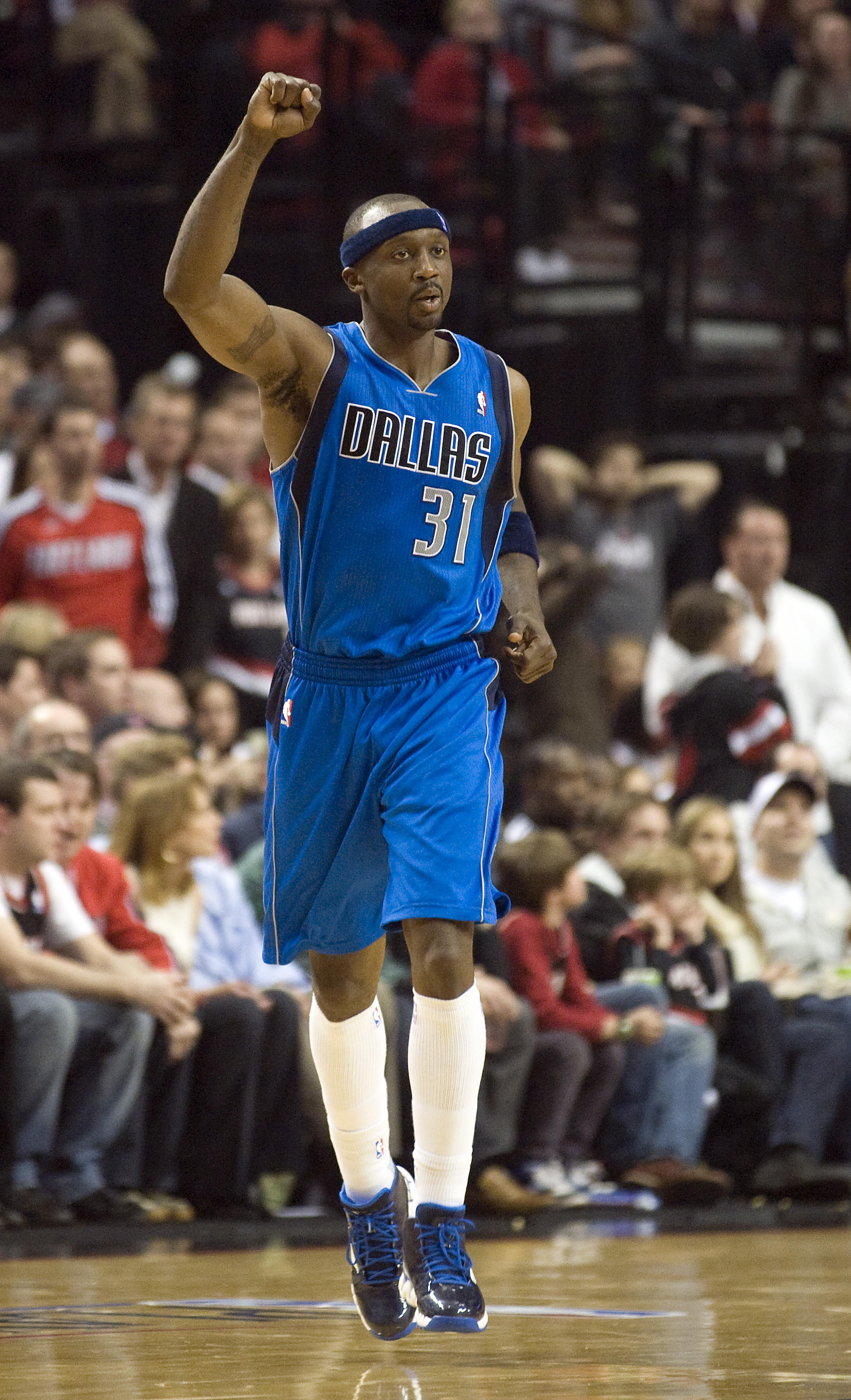 PORTLAND, OR - APRIL 28: Jason Terry #31 of the Dallas Mavericks celebrates after hitting a shot during the fourth quarter of Game Six of the Western Conference Quartefinals against the Portland Trail Blazers in the 2011 NBA Playsoffs on April 28, 2011 at