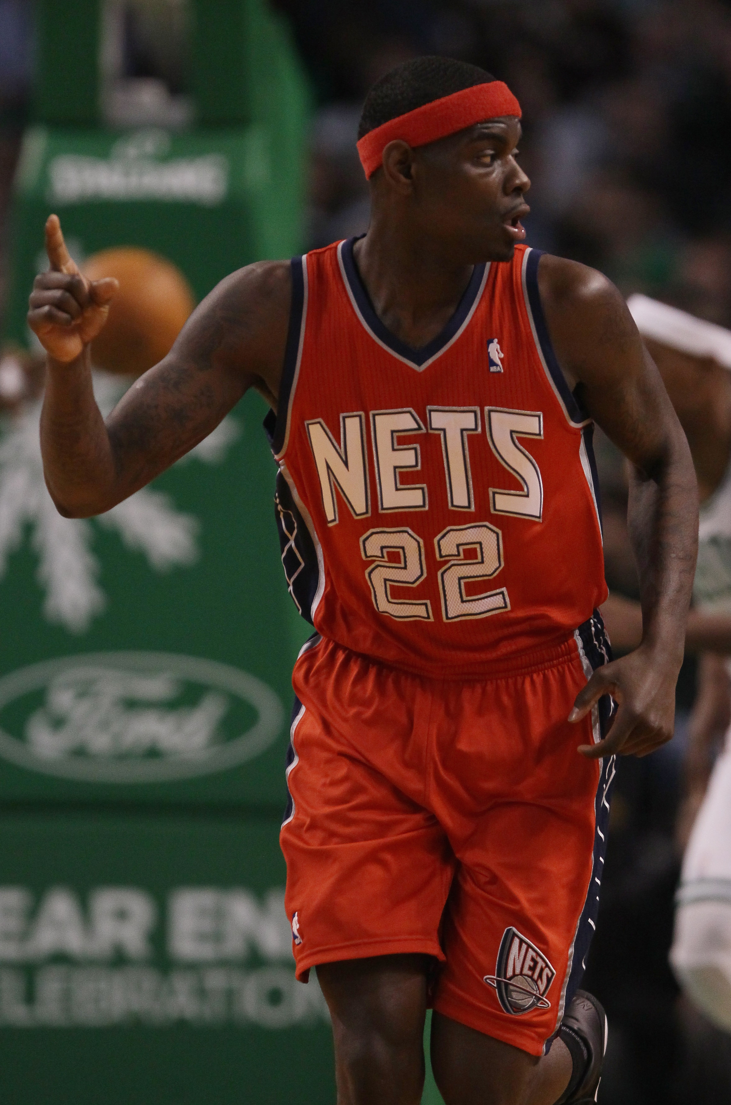 BOSTON - NOVEMBER 24:  Anthony Morrow #22 of the New Jersey Nets celebrates his basket in the first quarter against the Boston Celtics on November 24, 2010 at the TD Garden in Boston, Massachusetts. NOTE TO USER: User expressly acknowledges and agrees tha