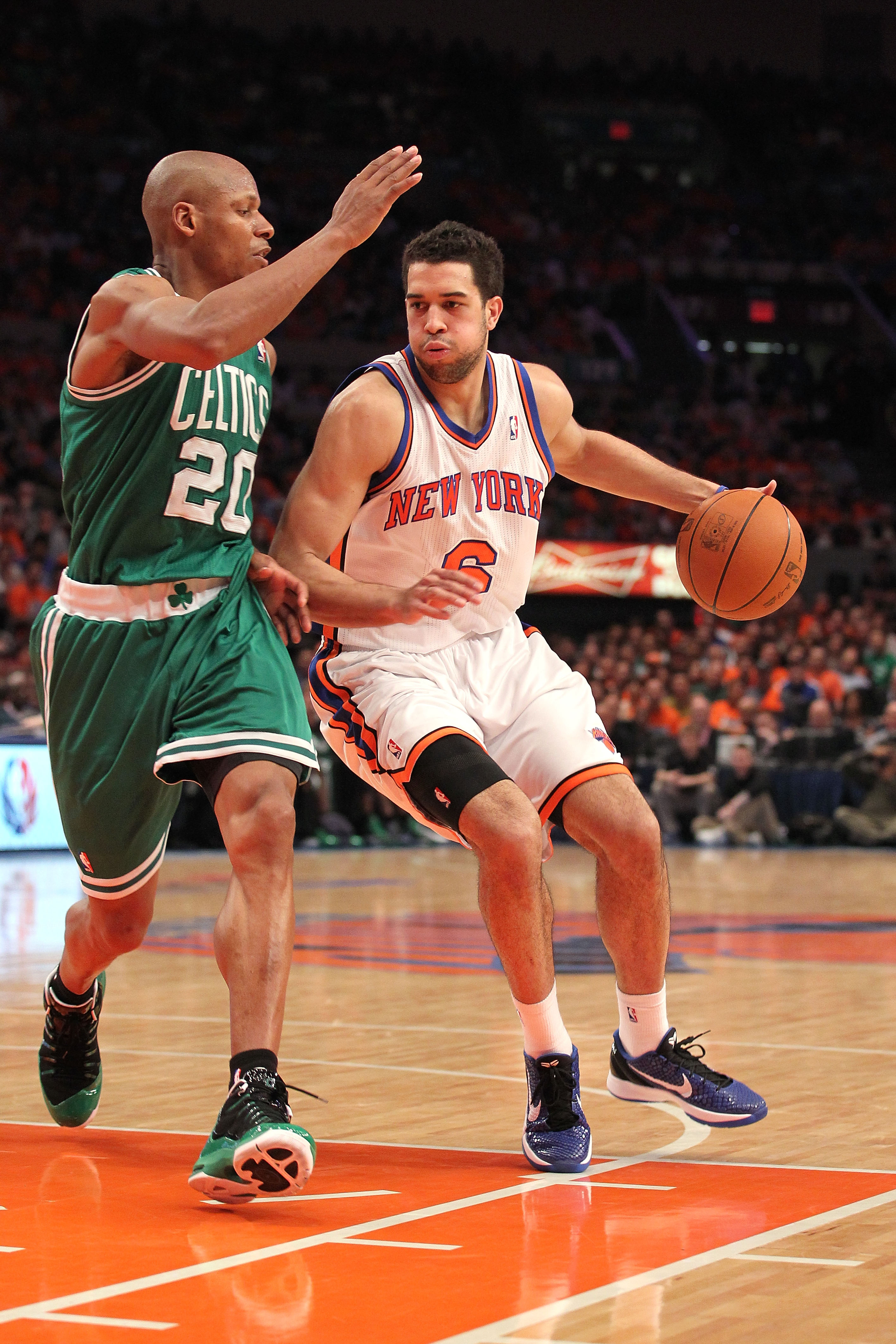 NEW YORK, NY - APRIL 24:  Landry Fields #6 of the New York Knicks drives against Ray Allen #20 of the Boston Celtics in Game Four of the Eastern Conference Quarterfinals during the 2011 NBA Playoffs on April 24, 2011 at Madison Square Garden in New York C