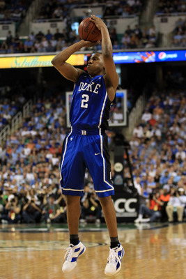 GREENSBORO, NC - MARCH 13:  Nolan Smith #2 of the Duke Blue Devils shoots against the North Carolina Tar Heels during the first half in the championship game of the 2011 ACC men's basketball tournament at the Greensboro Coliseum on March 13, 2011 in Green