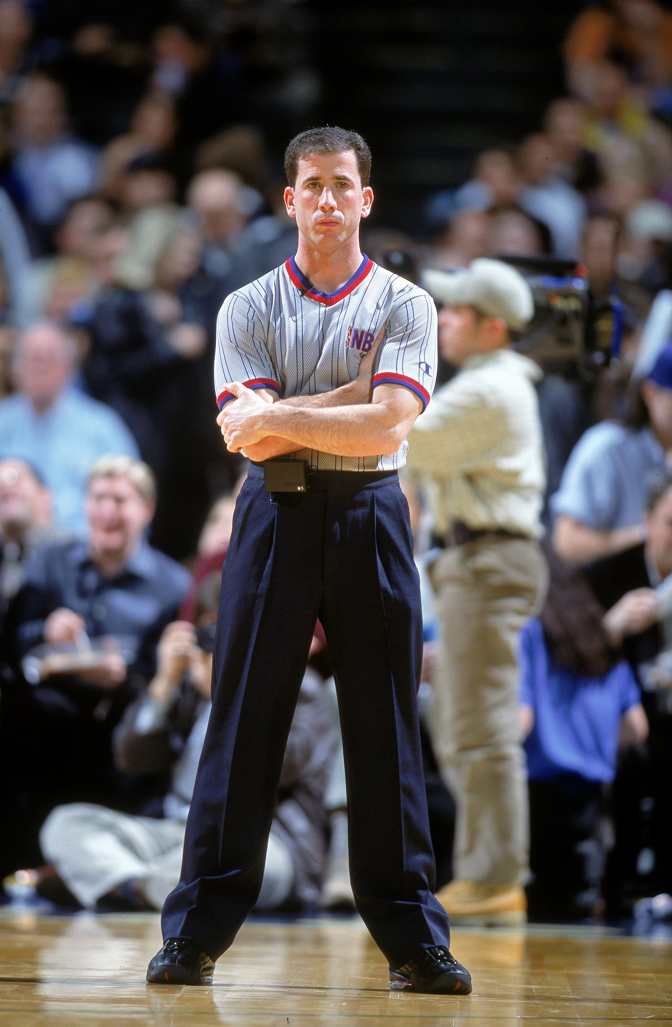 6 Dec 2000:  Referee Tim Donaghy  stands on the court during the game between the New York Knicks and the Dallas Mavericks at the Reunion Arena in Dallas, Texas. The Mavericks defeated the Knicks 94-85.   NOTE TO USER: It is expressly understood that the