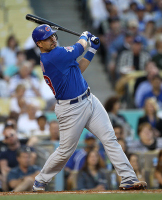 LOS ANGELES, CA - MAY 02:  Geovany Soto #18 of the Chicago Cubs hits an RBI double in the first inning against the Los Angeles Dodgers on May 2, 2011 at Dodger Stadium in Los Angeles, California.  (Photo by Stephen Dunn/Getty Images)