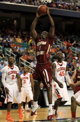 GREENSBORO, NC - MARCH 11:  Reggie Jackson #0 of the Boston College Eagles shoots against the Clemson Tigers during the second half in the quarterfinals of the 2011 ACC men's basketball tournament at the Greensboro Coliseum on March 11, 2011 in Greensboro