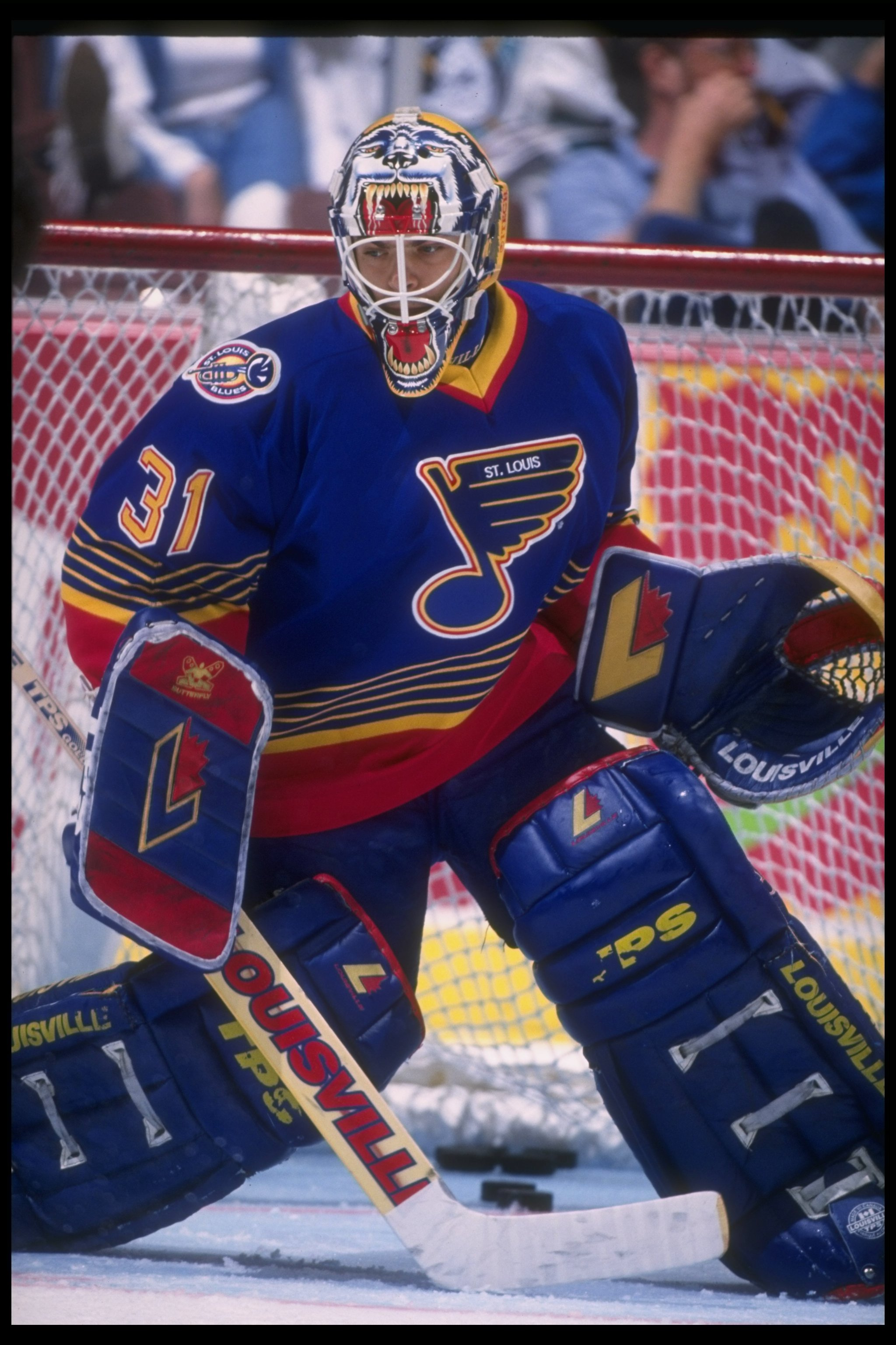 1 May 1995:  Goaltender Curtis Joseph of the St. Louis Blues looks on during a game against the Anaheim Mighty Ducks at Arrowhead Pond in Anaheim, California.  The Blues won the game, 5-3. Mandatory Credit: Al Bello  /Allsport