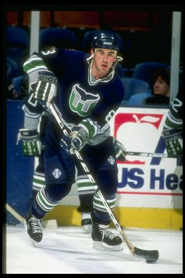 13 Feb 1997:  Leftwinger Geoff Sanderson of the Hartford Whalers moves down the ice during a game against the New Jersey Devils at the Continental Airlines Arena in East Rutherford, New Jersey.  The Devils won the game, 4-0. Mandatory Credit: Al Bello  /A