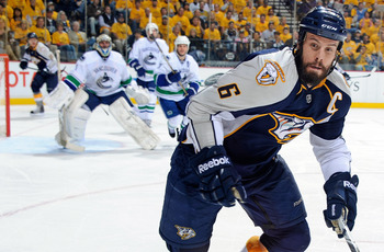 NASHVILLE, TN - MAY 03:   Shea Weber #6 of the Nashville Predators skates against the Vancouver Canucks in Game Three of the Western Conference Semifinals during the 2011 NHL Stanley Cup Playoffs at Bridgestone Arena on May 3, 2011 in Nashville, Tennessee