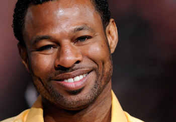 LAS VEGAS, NV - MAY 04:  Boxer Shane Mosley smiles during the final news conference for his bout against Manny Pacquiao at the MGM Grand Hotel/Casino May 4, 2011 in Las Vegas, Nevada. Mosley will challenge Pacquiao for his WBO welterweight title on May 7,