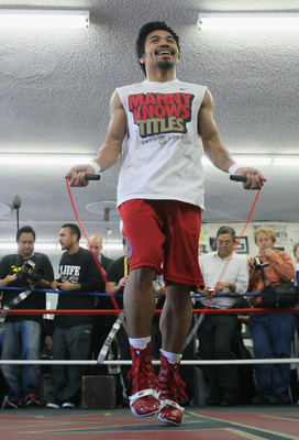 HOLLYWOOD, CA - APRIL 20:  Manny Pacquiao of the Philippines jumps rope during a media workout at the Wild Card Boxing Club on April 20, 2011 in Hollywood, California.  (Photo by Jeff Gross/Getty Images)
