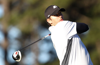 PEBBLE BEACH, CA - FEBRUARY 10: NFL player Tony Romo  plays a shot during the first round of the AT&T Pebble Beach National Pro-Am at Monterey Peninsula Country Club on February 10, 2011  in Pebble Beach, California.  (Photo by Stuart Franklin/Getty Image