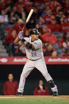 ANAHEIM, CA - APRIL 08:  Juan Rivera #20 of the Toronto Blue Jays bats against the Los Angeles Angels of Anaheim at Angel Stadium of Anaheim on April 8, 2011 in Anaheim, California.  (Photo by Jeff Gross/Getty Images)