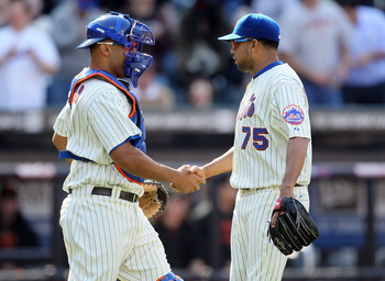 NEW YORK, NY - MAY 05:  Francisco Rodriguez #75 and Ronny Paulino #9 of the New York Mets celebrate after defeating the San Francisco Giants on May 5, 2011 at Citi Field in the Flushing neighborhood of the Queens borough of New York City. The Mets defeate