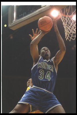 29 Mar 1994: Guard Isaiah Rider of the Minnesota Timberwolves goes up for two during a game against the Los Angeles Lakers at the Great Western Forum in Inglewood, California.