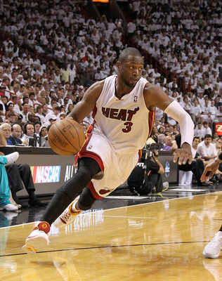 MIAMI, FL - MAY 01:  Dwyane Wade #3 of the Miami Heat drives to the lane during Game One of the Eastern Conference Semifinals of the 2011 NBA Playoffs against the Boston Celtics at American Airlines Arena on May 1, 2011 in Miami, Florida. NOTE TO USER: Us