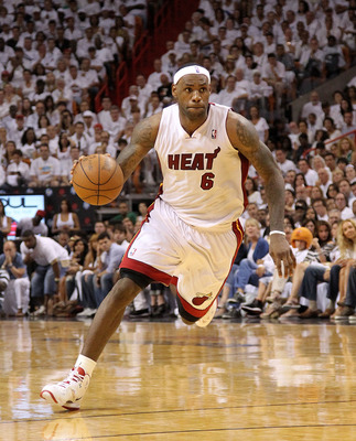 MIAMI, FL - MAY 01:  LeBron James #6 of the Miami Heat drives to the lane during Game One of the Eastern Conference Semifinals of the 2011 NBA Playoffs against the Boston Celtics at American Airlines Arena on May 1, 2011 in Miami, Florida. NOTE TO USER: U