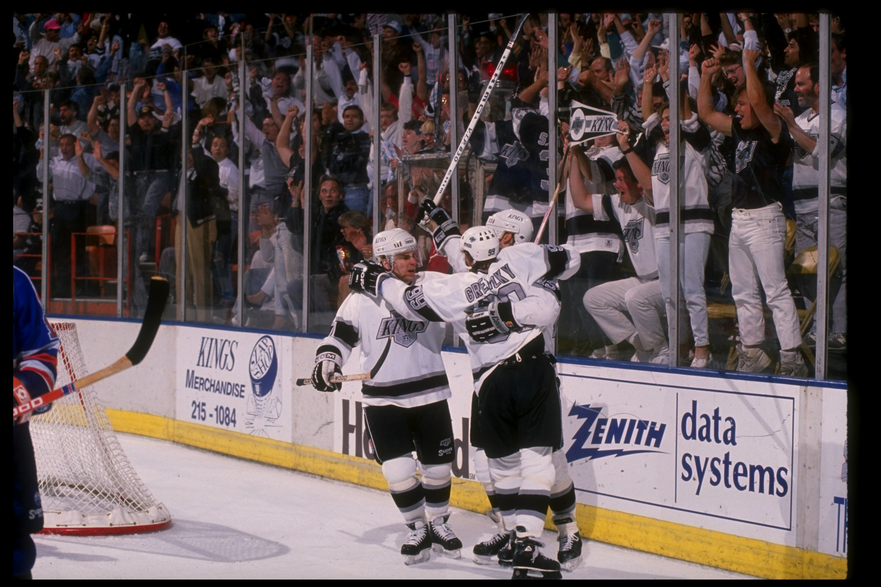Forward Chris Kontos of the Los Angeles Kings after scoring a goal.