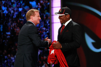 NEW YORK, NY - APRIL 28:  NFL Commissioner Roger Goodell (L) greets Patrick Peterson, #5 overall pick by the Arizona Cardinals, during the 2011 NFL Draft at Radio City Music Hall on April 28, 2011 in New York City.  (Photo by Chris Trotman/Getty Images)