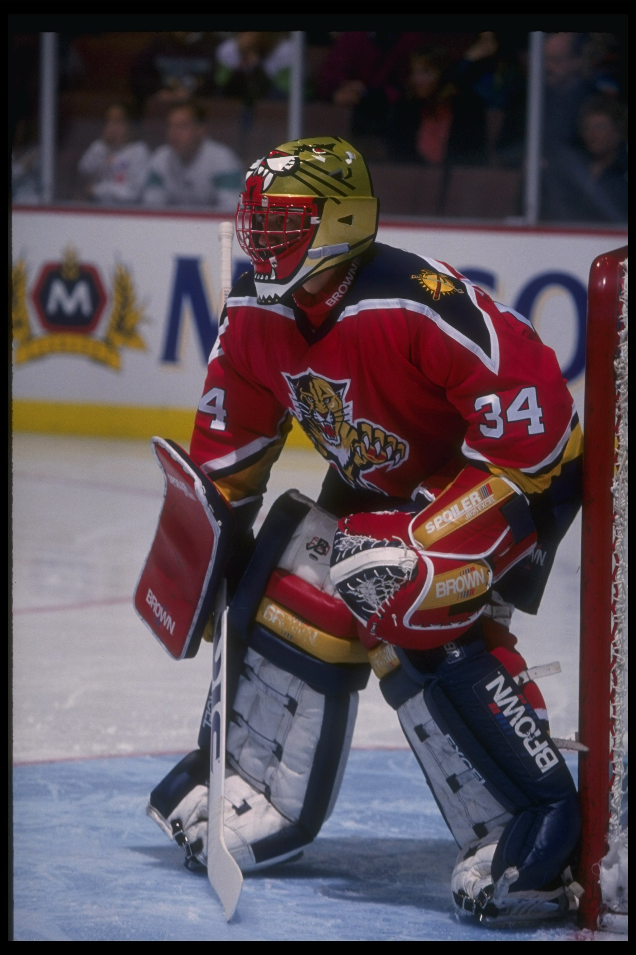 7 Dec 1993:  Goaltender John Vanbiesbrouck of the Florida Panthers looks on during a game against the Anaheim Mighty Ducks at Arrowhead Pond in Anaheim, California.  The Panthers won the game, 3-2. Mandatory Credit: Al Bello  /Allsport
