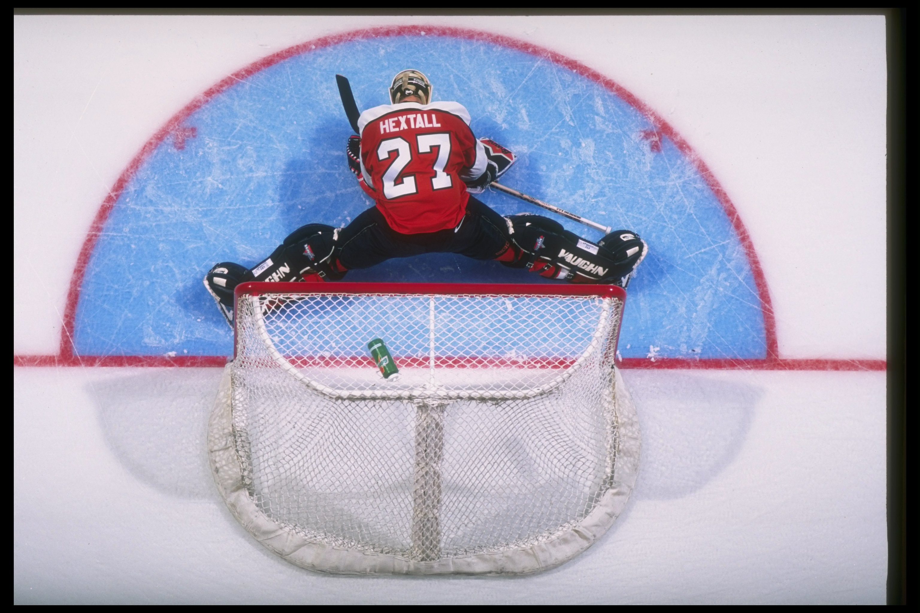 16 Oct 1996:  Goaltender Ron Hextall of the Philadelphia Flyers tends goal during a game against the Anaheim Mighty Ducks at Arrowhead Pond in Anaheim, California.  The Flyers won the game, 4-3. Mandatory Credit: Jamie Squire  /Allsport