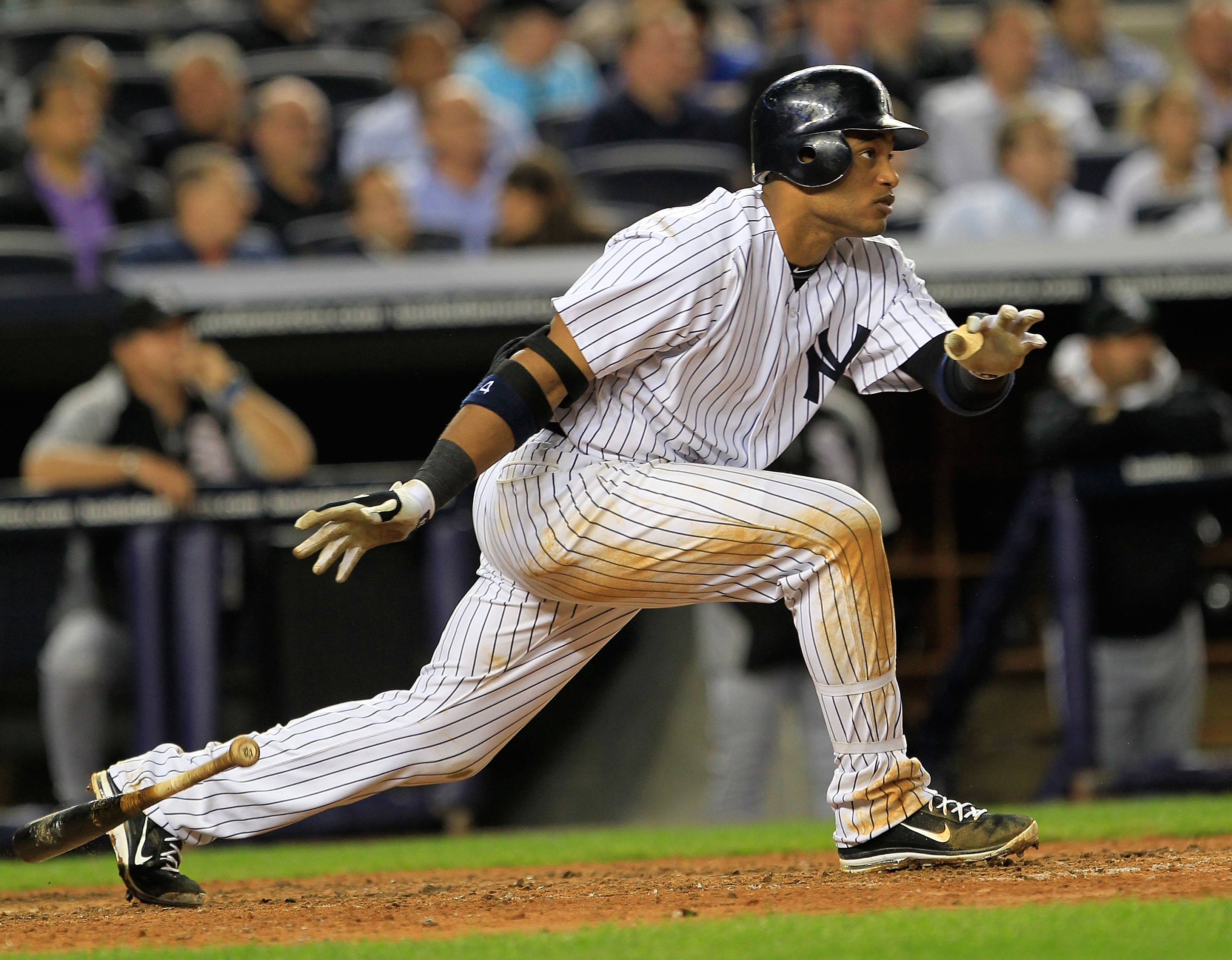NEW YORK, NY - APRIL 26:  Robinson Cano #24 of the New York Yankees bats against the Chicago White Sox at Yankee Stadium on April 26, 2011 in the Bronx borough of New York City. The White Sox defeated the Yankees 3-2.  (Photo by Chris Trotman/Getty Images