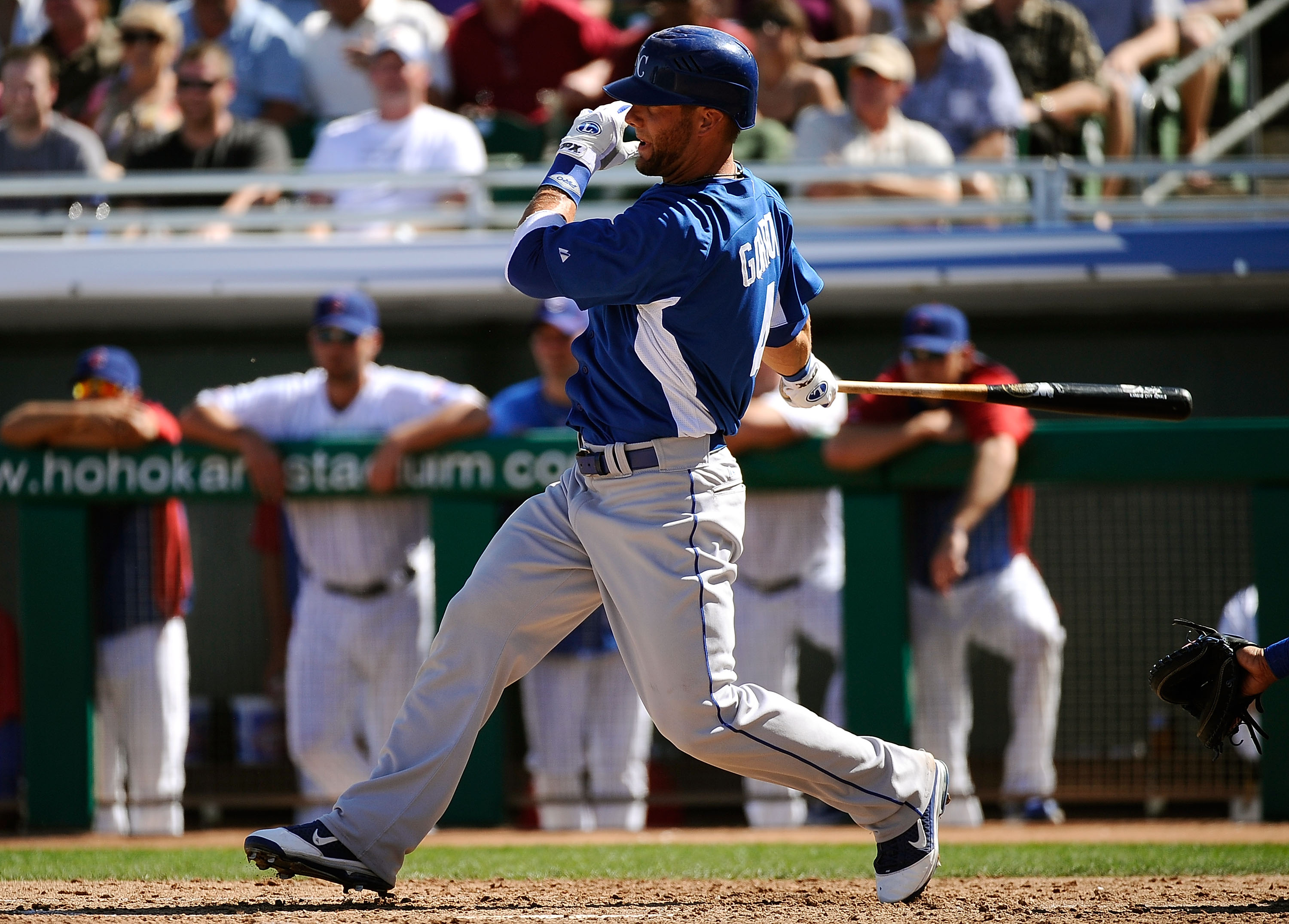MESA, AZ - MARCH 09:  Alex Gordon #4 of the Kansas City Royals plays against the Chicago Cubs during the spring training baseball game at HoHoKam Stadium on March 9, 2011 in Mesa, Arizona.  (Photo by Kevork Djansezian/Getty Images)