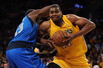 LOS ANGELES, CA - MAY 02:  Andrew Bynum #17 of the Los Angeles Lakers makes a move on Brendan Haywood #33 of the Dallas Mavericks in the second half in Game One of the Western Conference Semifinals in the 2011 NBA Playoffs at Staples Center on May 2, 2011