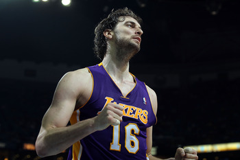 NEW ORLEANS, LA - APRIL 28:  Pau Gasol #16 of the Los Angeles Lakers reacts during play against the New Orleans Hornets in Game Six of the Western Conference Quarterfinals in the 2011 NBA Playoffs on April 28, 2011 at New Orleans Arena in New Orleans, Lou