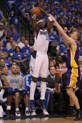 DALLAS, TX - MAY 06:  Guard Jason Terry #31 of the Dallas Mavericks takes a shot against Steve Blake #5 of the Los Angeles Lakers in Game Three of the Western Conference Semifinals during the 2011 NBA Playoffs on May 6, 2011 at American Airlines Center in