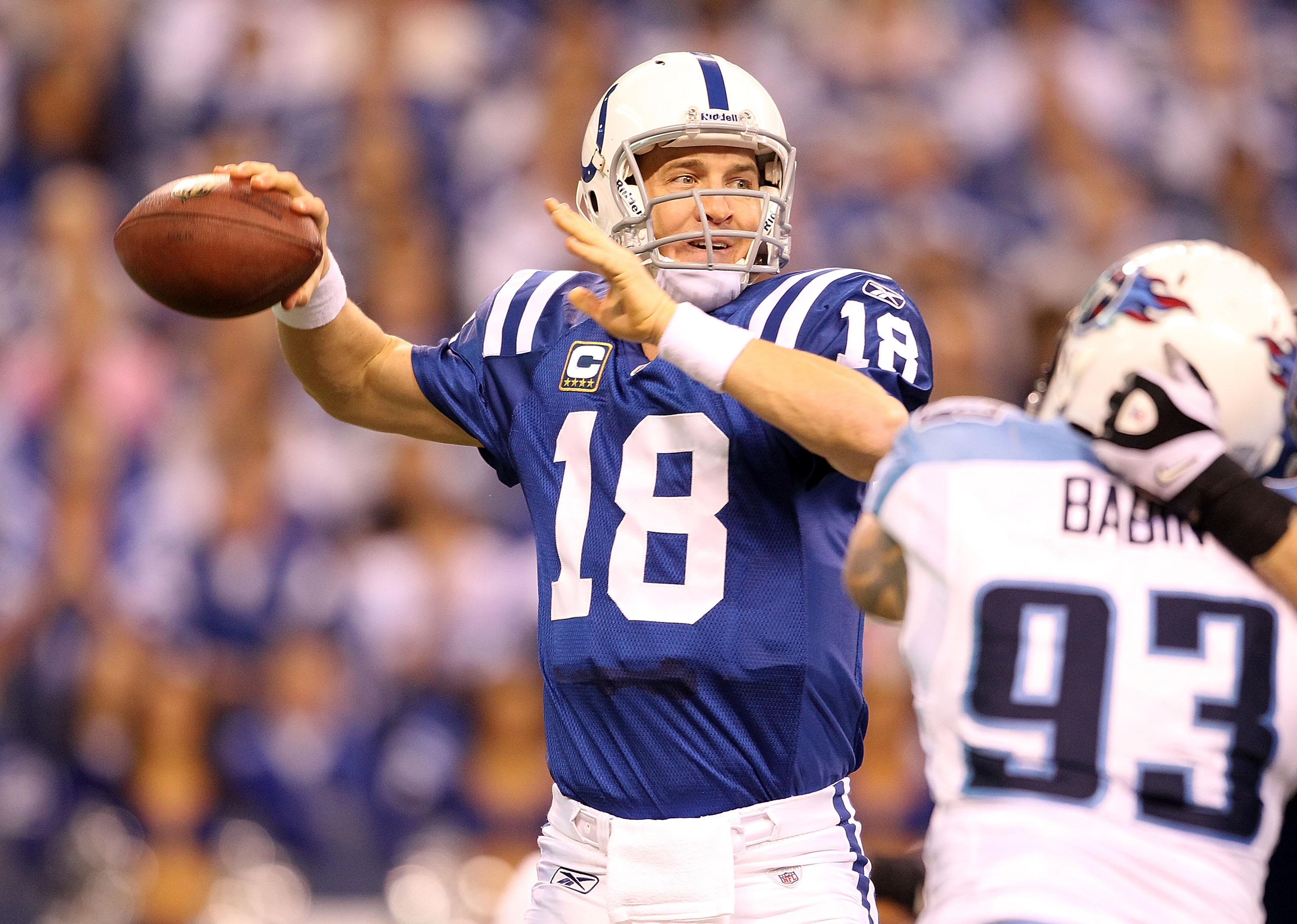 INDIANAPOLIS - JANUARY 02:  Peyton Manning #18 of the Indianapolis Colts throws a pass during NFL game against the Tennessee Titans at Lucas Oil Stadium on January 2, 2011 in Indianapolis, Indiana.  (Photo by Andy Lyons/Getty Images)