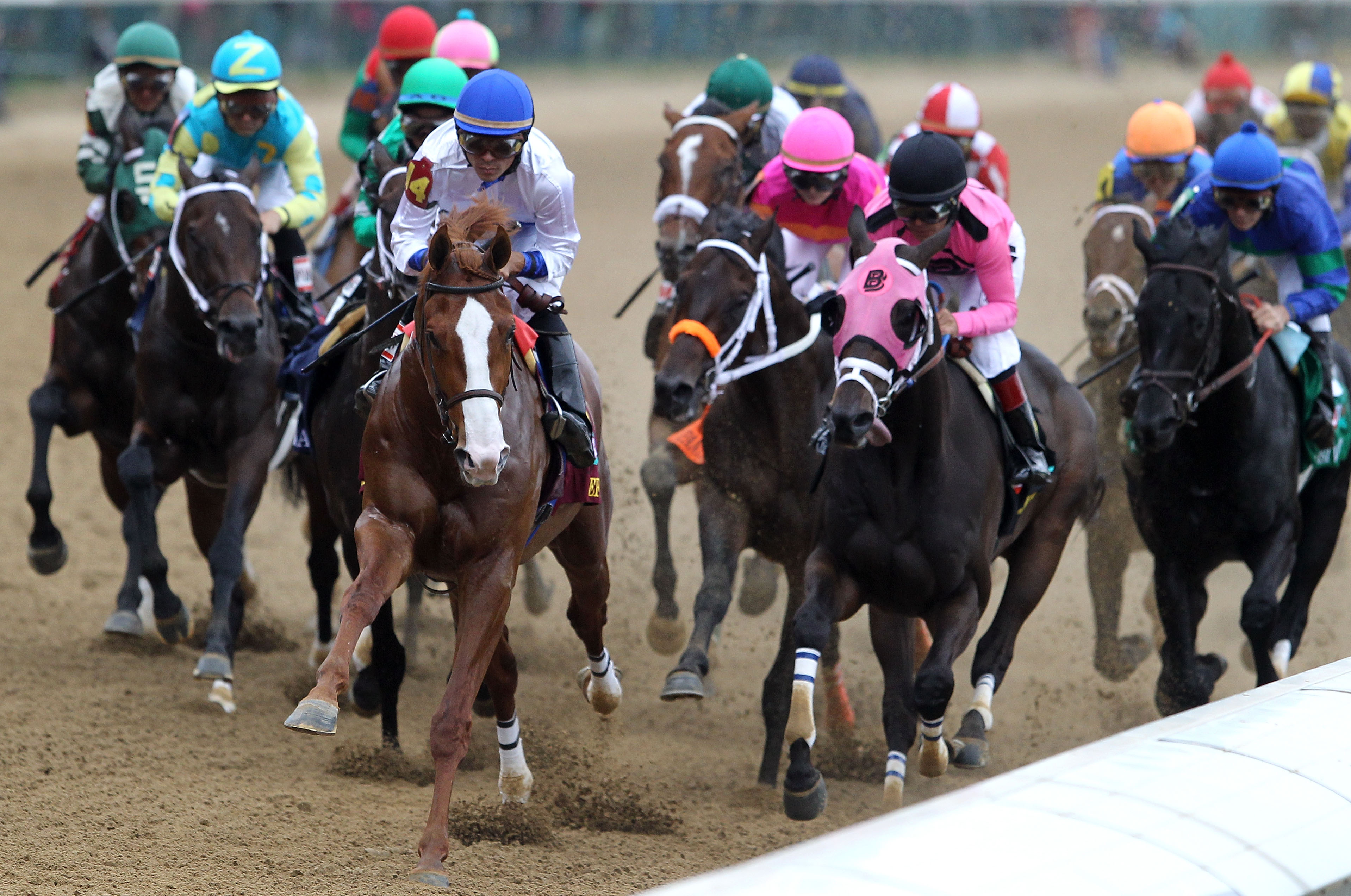 LOUISVILLE, KY - MAY 07:  Jockey Jesus L. Castanon (C), riding Shackleford #14, leads the field down the stretch at the start of the 137th Kentucky Derby at Churchill Downs on May 7, 2011 in Louisville, Kentucky.  (Photo by Matthew Stockman/Getty Images)