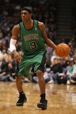 EAST RUTHERFORD, NJ - MARCH 04:  Rajon Rondo #9 of Boston Celtics dribbles the ball against the New Jersey Nets during their game on March 4th, 2009 at The Izod Center in East Rutherford, New Jersey.  NOTE TO USER: User expressly acknowledges and agrees t