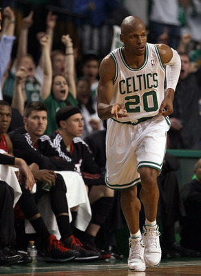 BOSTON, MA - MAY 07:  Ray Allen #20 of the Boston Celtics celebrates his basket in the fourth quarter against the Miami Heat in Game Three of the Eastern Conference Semifinals in the 2011 NBA Playoffs on May 7, 2011 at the TD Garden in Boston, Massachuset